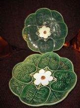 2 X ANTIQUE MAJOLICA DEEP GREEN GLAZED PLATES LILY PAD RICH TEXTURED FINISH